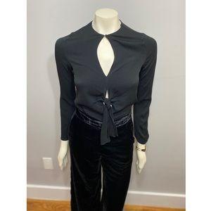 Zara Cropped Black Viscose Top W/ Cutouts XS